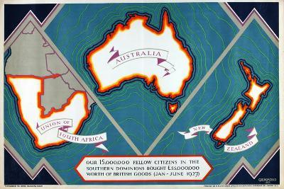 Union of South Africa, Australia, New Zealand, from the Series 'Where Our Exports Go', 1927-William Grimmond-Giclee Print