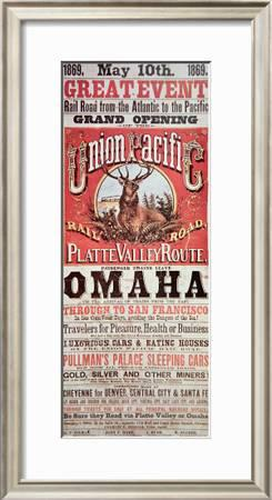 Union Pacific Railroad Poster Advertising First Transcontinental Railroad Across The Usa C 1869 Giclee Print Art Com