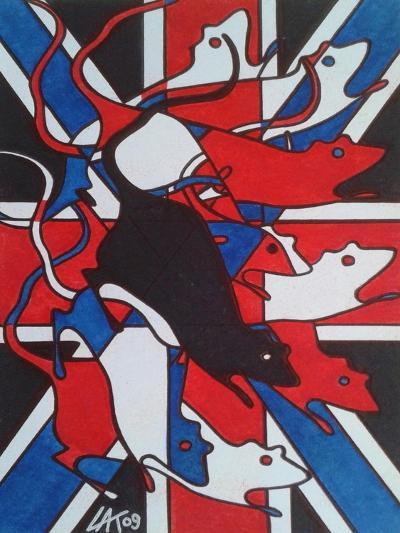 Union Rat-Abstract Graffiti-Giclee Print