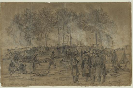 Union Soldiers Bury their Comrades and Burn their Horses after the Battle of Fair Oaks- Library Of Congress-Photographic Print