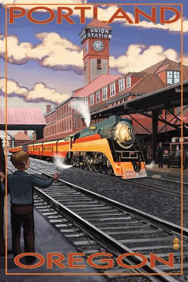 Union Train Station - Portland, Oregon-Lantern Press-Wall Mural