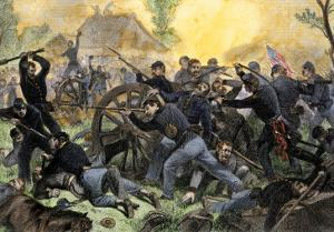 Union Troops under General Ulysses S. Grant Recapturing Artillery during the Battle of Shiloh