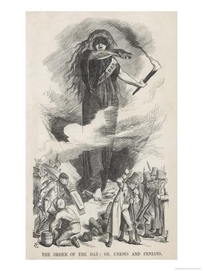 Unions and Fenians Menace Society-John Tenniel-Giclee Print