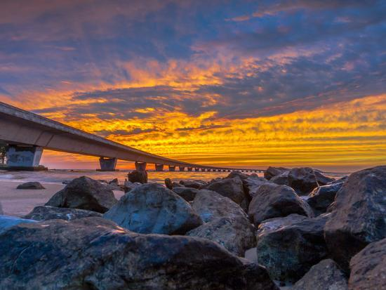 Unique Angle of the Garcon Point Bridge Spanning over Pensacola Bay Shot during a Gorgeous Sunset F-David Schulz Photography-Photographic Print