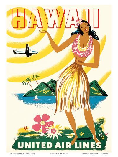 United Air Lines: Hawaii - Only Hours Away, c.1950s--Art Print
