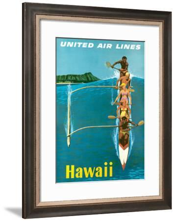 United Air Lines, Hawaii, Outrigger Canoe-Stan Galli-Framed Giclee Print