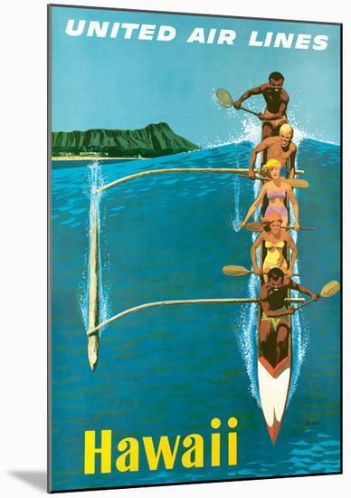 United Air Lines, Hawaii, Outrigger Canoe-Stan Galli-Mounted Giclee Print