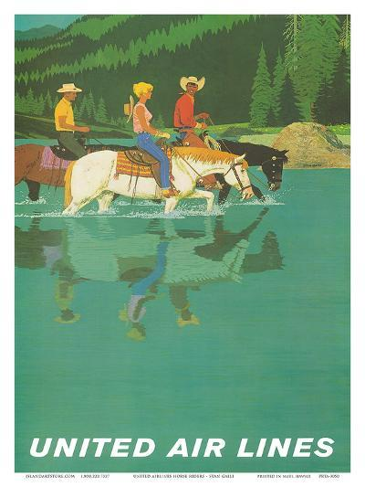 United Air Lines: Horse Back Riders, c.1960s-Stan Galli-Art Print