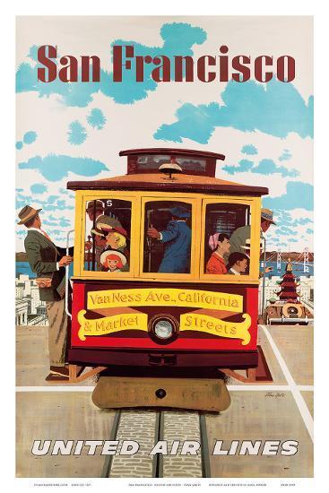 United Air Lines San Francisco, Cable Car c.1957-Stan Galli-Art Print