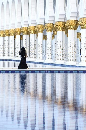 United Arab Emirates, Abu Dhabi. Arabic Woman Walking Inside Sheikh Zayed Grand Mosque-Matteo Colombo-Photographic Print