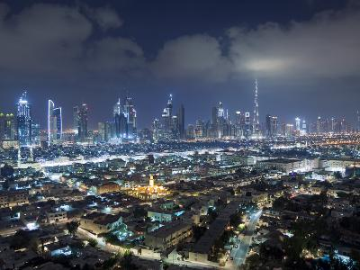United Arab Emirates, Dubai, Skyline of Modern Skyscrapers Including the Burj Khalifa on Sheikh Zay-Gavin Hellier-Photographic Print