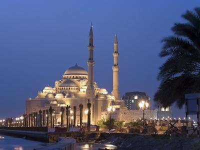 United Arab Emirates, Sharjah, Sharjah Mosque by the Corniche, Dusk-Michele Falzone-Photographic Print