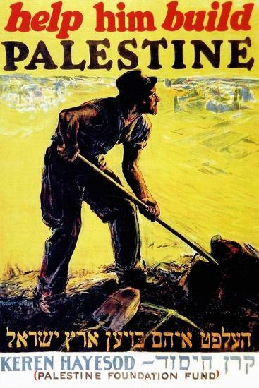 United Israel Appeal-Help Him Build Palestine-United Jewish United Jewish Appeal-Art Print