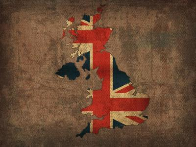 United Kingdom Country Flag Map-Red Atlas Designs-Giclee Print
