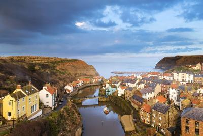 United Kingdom, England, North Yorkshire, Staithes. the Sleepy Harbour in the Evening.-Nick Ledger-Photographic Print