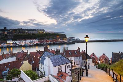 United Kingdom, England, North Yorkshire, Whitby. the Harbour and 199 Steps-Nick Ledger-Photographic Print