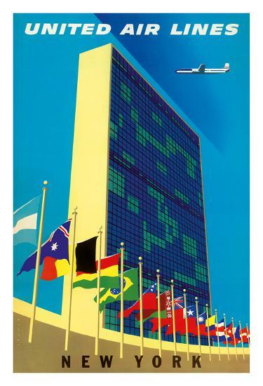 United Nations Building, New York - United Air Lines-Joseph Binder-Giclee Print