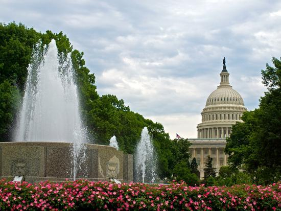 United States Capitol Building and Fountain in Washington Dc-Frank L Jr-Photographic Print