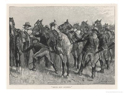 United States Cavalrymen Mounting During the Fighting Against Native Americans-Frederic Sackrider Remington-Giclee Print