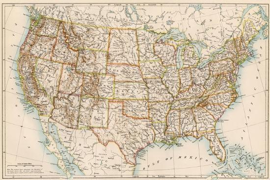 United States Map, 1870s--Premium Giclee Print