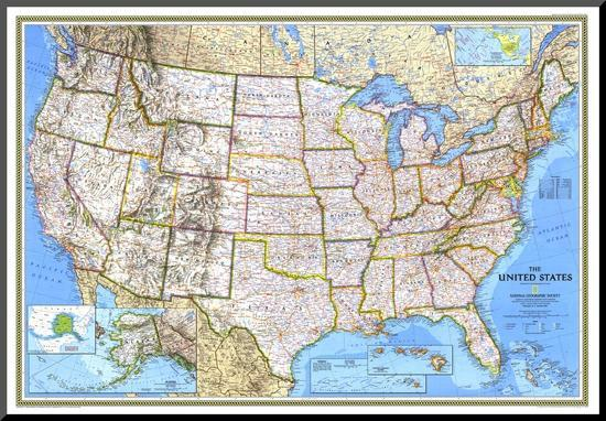 United States Map 1993 Mounted Print National Geographic Maps