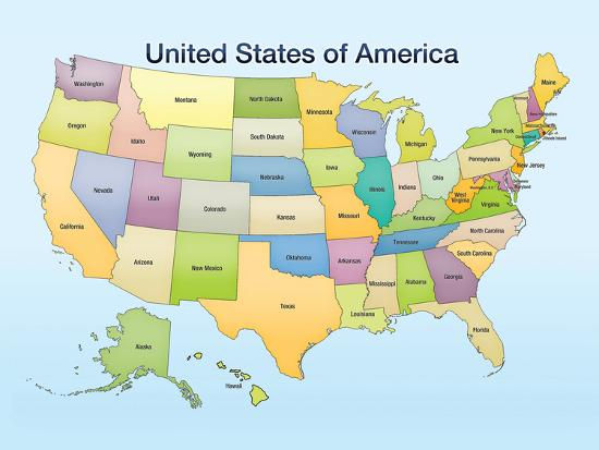 United States of America Map Educational Poster Print Poster by | Art.com
