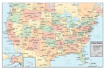 United States Of America Map- rook-Art Print