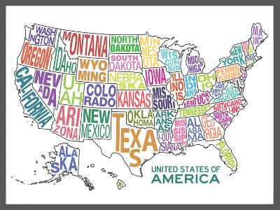 United States of America Stylized Text Map Colorful--Poster