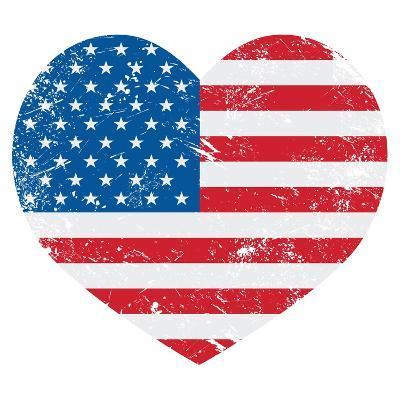 United States On America Retro Heart Flag-RedKoala-Art Print