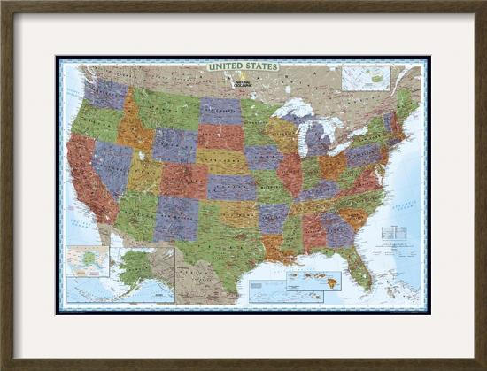 United States Political Map, Decorator Style-National Geographic Maps-Framed Art Print