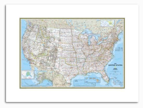 United States Political Map Metal Print by National Geographic Maps |  Art.com
