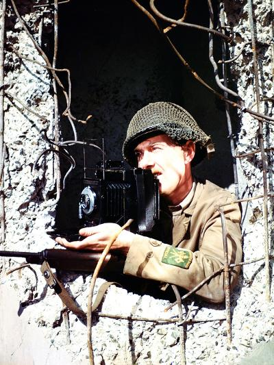United States Signal Corps Photographer B. Bacon Inside a German Pillbox, Normandy, France--Photographic Print