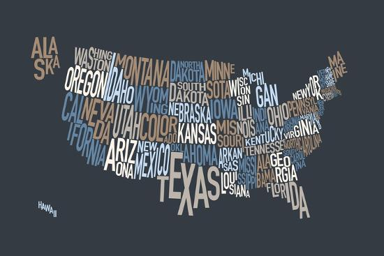 United States Text Map-Michael Tompsett-Art Print