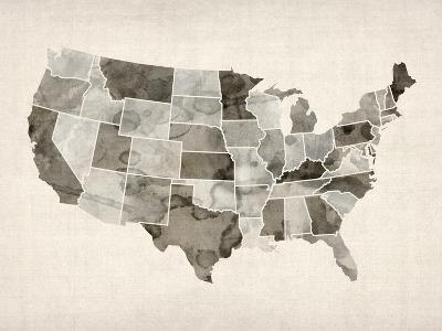 United States Watercolor Map-Michael Tompsett-Art Print