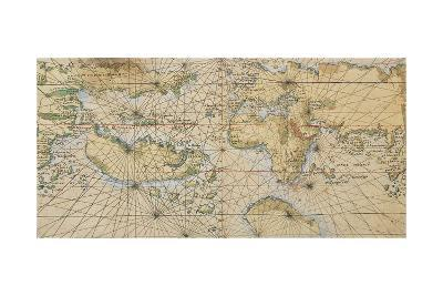 Universal Marine, World Sea on Illustrated Parchment, Circa 1508-Francesco Rosselli-Giclee Print