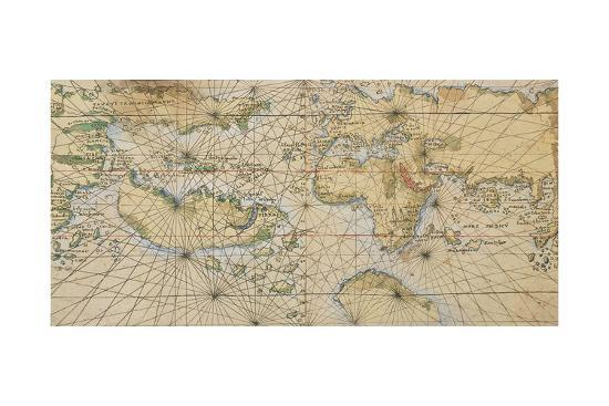 Universal Marine, World Sea on Illustrated Parchment, Circa 1508-Francesco Rosselli-Giclee Print
