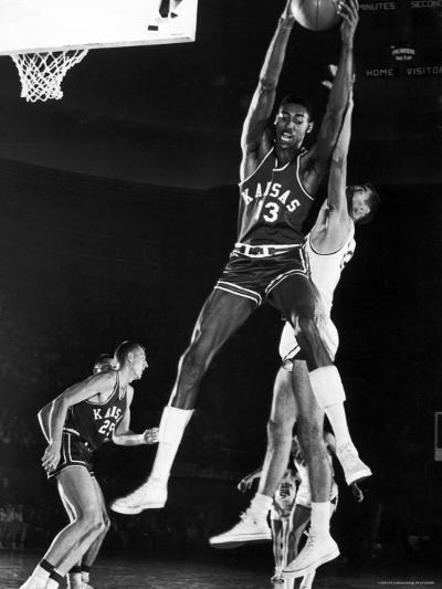 University of Kansas Basketball Star Wilt Chamberlain Playing in a Game-George Silk-Premium Photographic Print