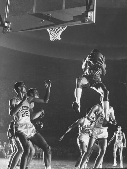 University of Kansas Basketball Star Wilt Chamberlain Playing in a Game-George Silk-Premium Photographic Print