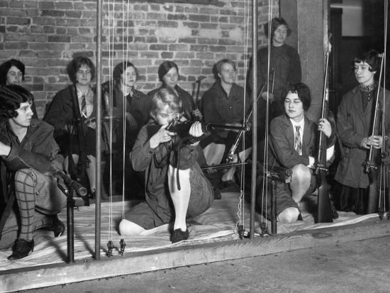 University of Maryland's Women's Rifle Team Practices their Shot-Clifton R^ Adams-Photographic Print
