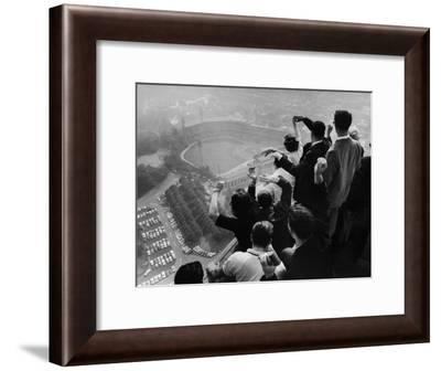University of Pittsburgh Students Cheering Wildly from Atop Cathedral of Learning, School's Campus-George Silk-Framed Photographic Print