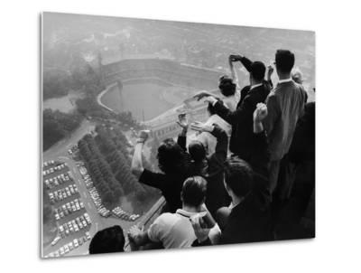 University of Pittsburgh Students Cheering Wildly from Atop Cathedral of Learning, School's Campus-George Silk-Metal Print