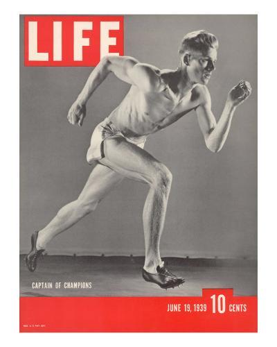 University of Southern California Track Star Payton Jordan Caught in Full Stride, June 19, 1939-Gjon Mili-Photographic Print