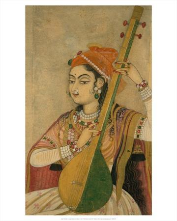 A Lady Playing the Tanpura, 1735