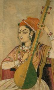 A Lady Playing the Tanpura, 1735 by Unknown
