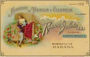Advertisement for Romeo y Julieta cigars, c1900s by Unknown