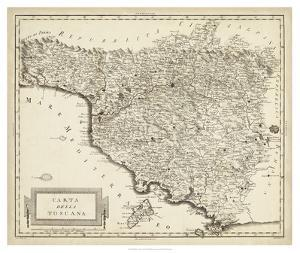 Antique Map of Tuscany by Unknown