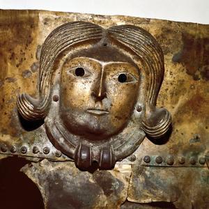 Celtic human head on Bronze cauldron, Rynkeby Bog, Denmark, 4th century BC. Artist: Unknown by Unknown