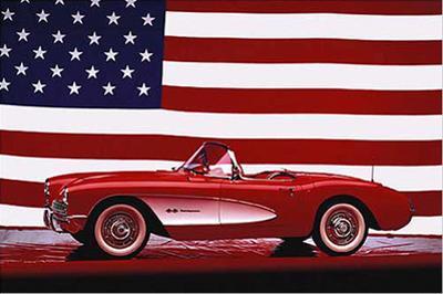 Corvette 1957 with US Flag