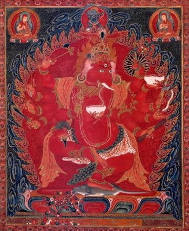 Dancing Red Ganapati of the Three Red Deities, 15-16th c