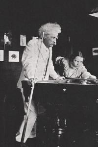 Mark Twain, American author, playing pool, c1900s(?) by Unknown
